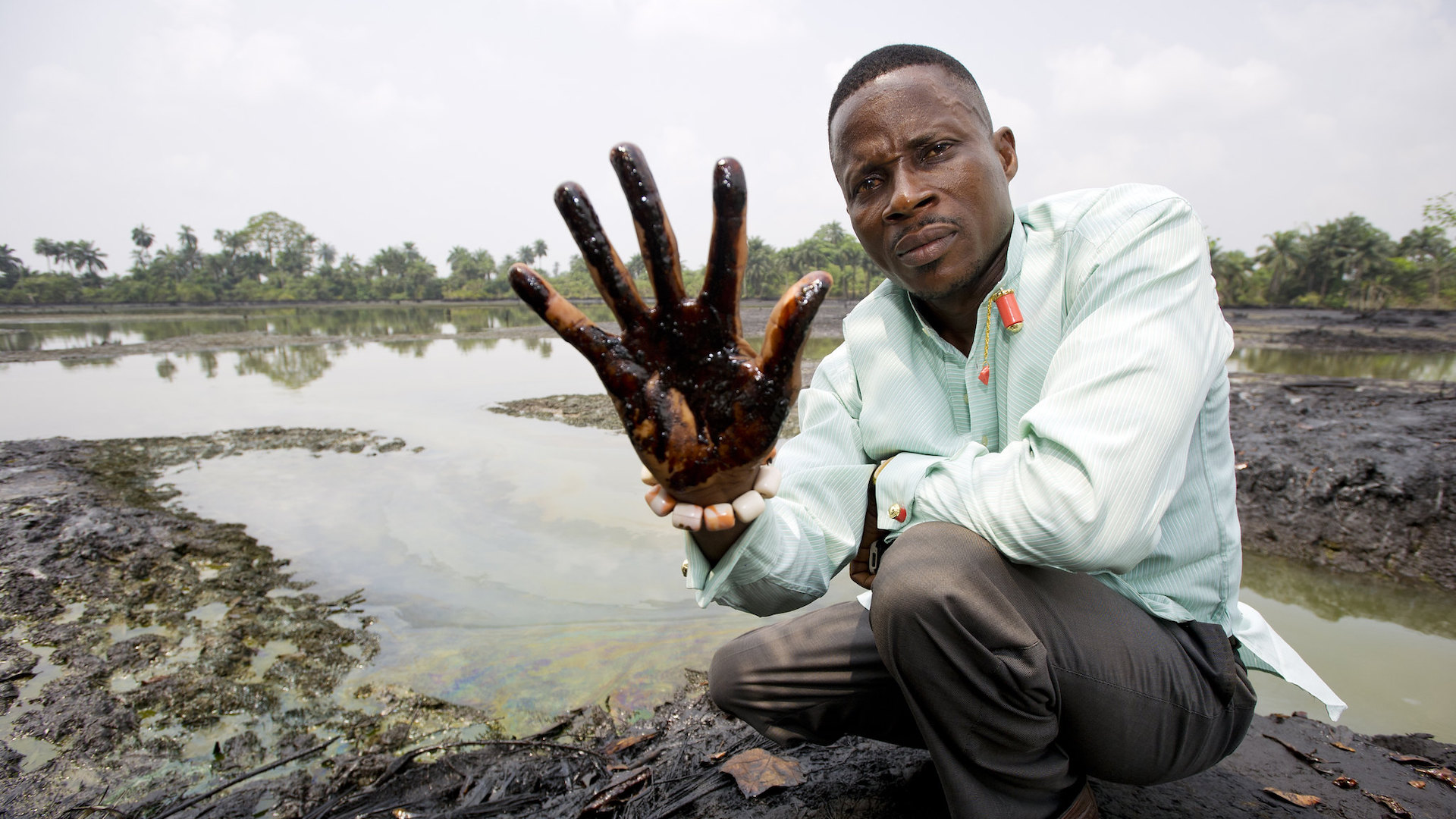 Oil spill in the Niger Delta in Africa