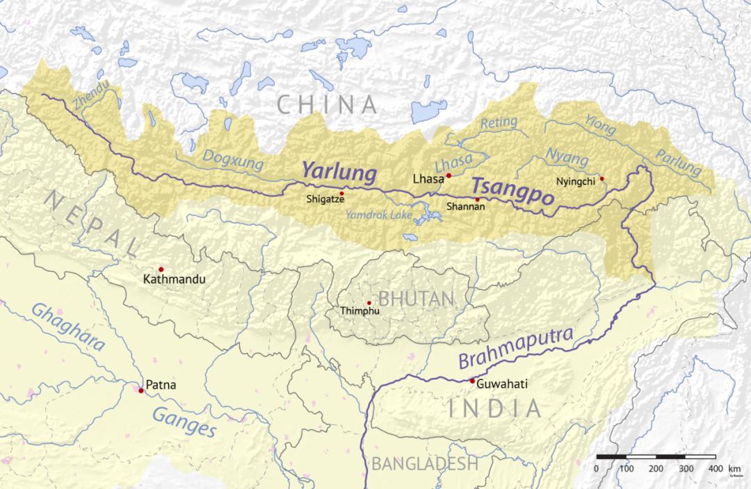 La mappa del fiume Brahmaputra