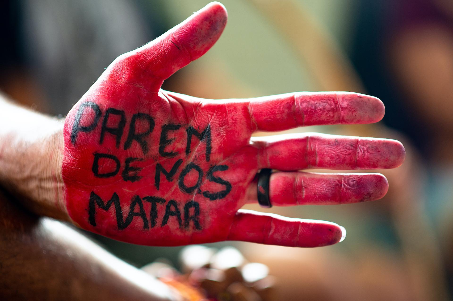 Manifestante indigeno in Brasile