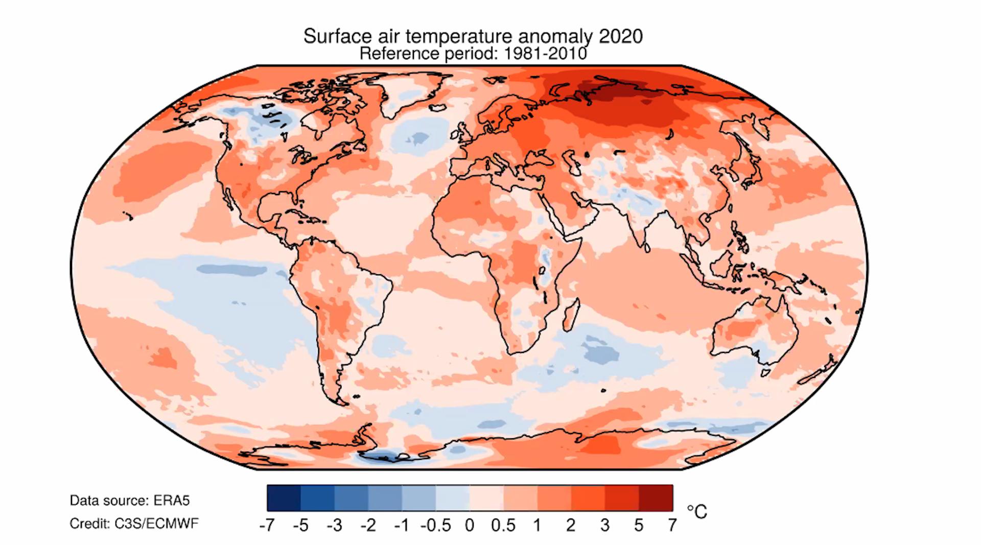 Le anomalie termiche registrate nel mondo nel 2020