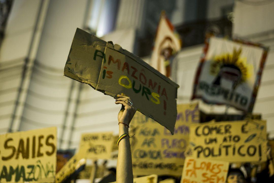 Una manifestazione contro la deforestazione dell'Amazzonia in Brasile