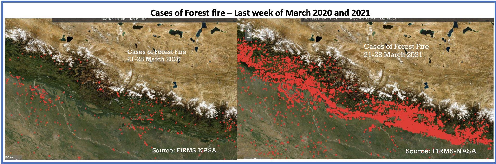 Gli incendi in Nepal visti dalla Nasa
