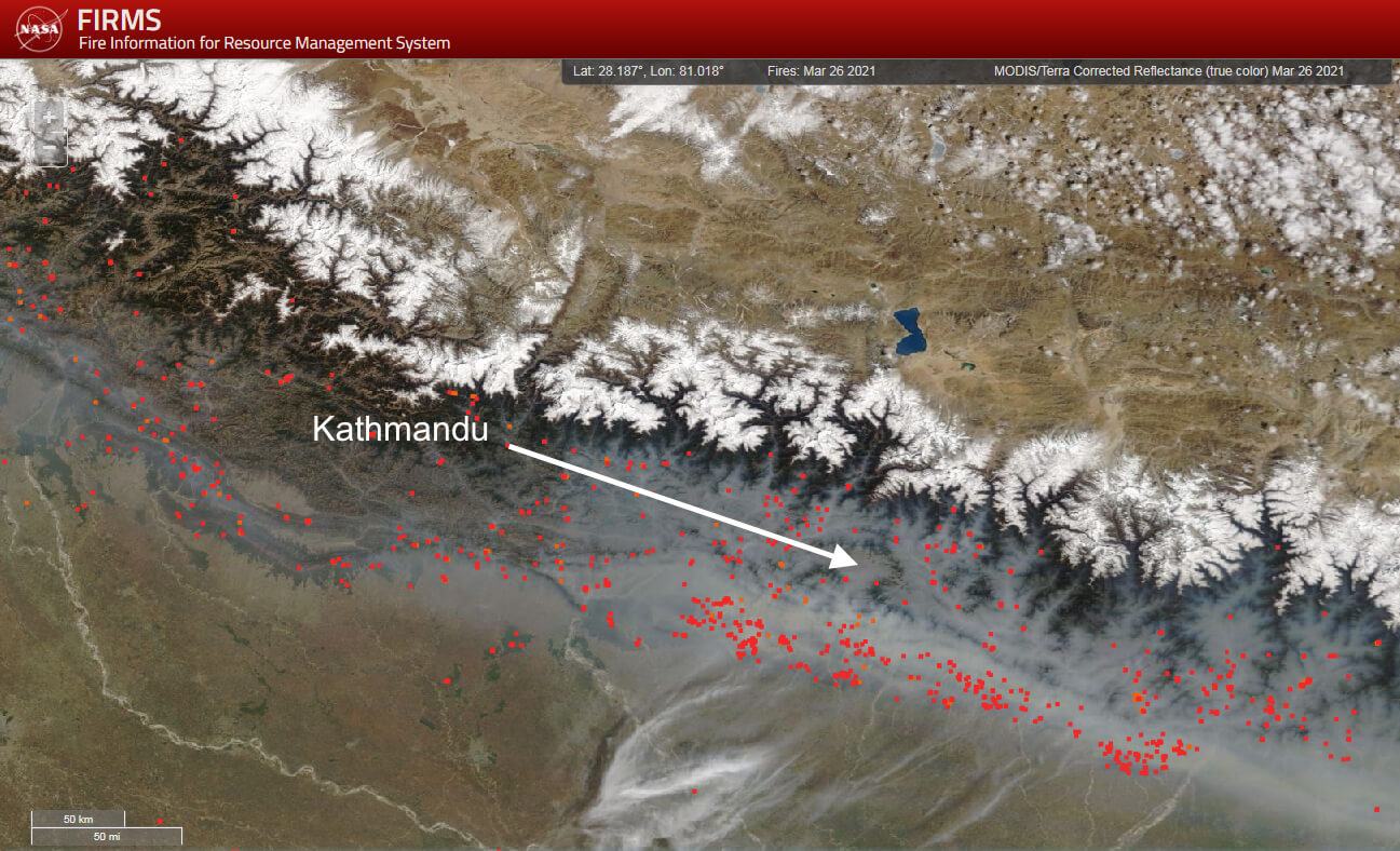 Gli incendi in Nepal