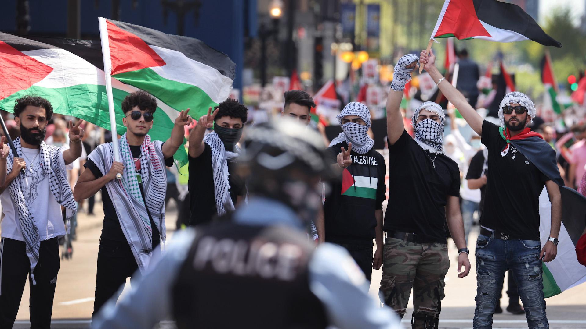 Una protesta pro-Palestina a Chicago, negli Stati Uniti