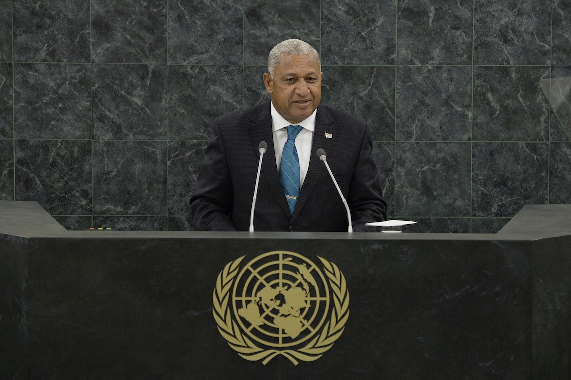 Fijian Prime Minister Commodore Josaia V. Bainimarama addresses the 68th session of the General Assembly at United Nations headquarters on September 25, 2013 in New York City. Over 120 prime ministers, presidents and monarchs are gathering this week for the annual meeting at the temporary General Assembly Hall at the U.N. headquarters while the General Assembly Building is closed for renovations.  (Photo by Mary Altaffer-Pool/Getty Images)