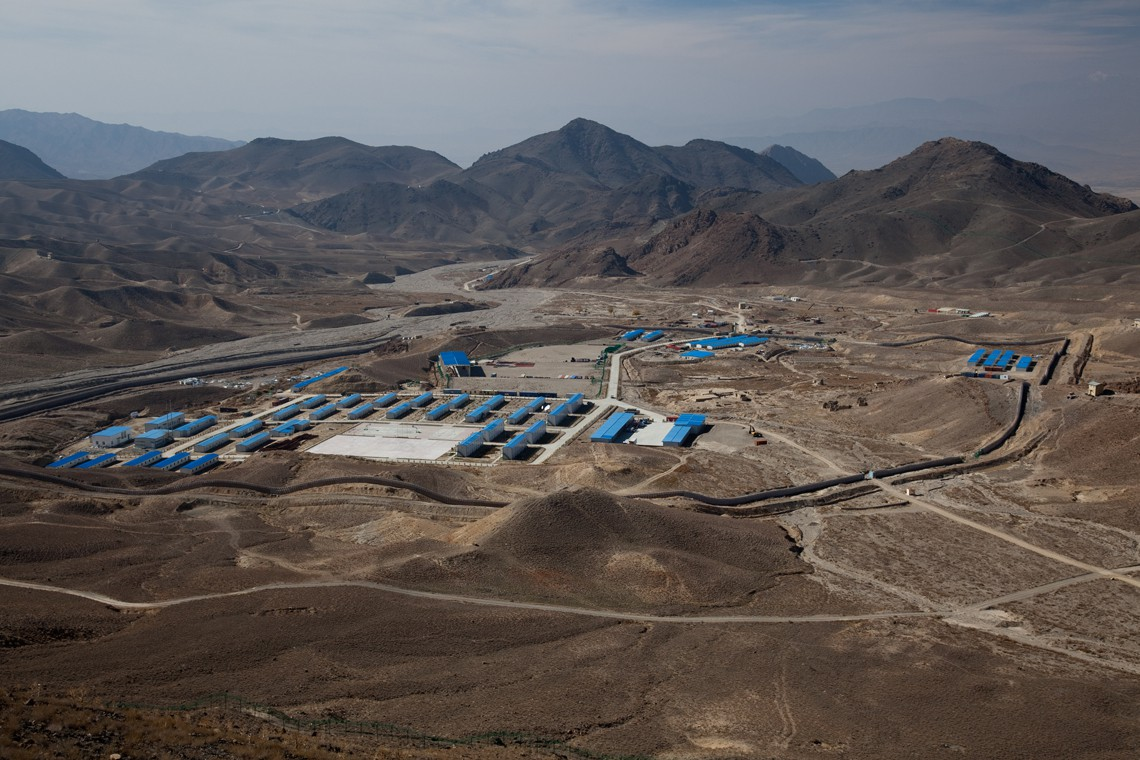 Postazioni di estrazione mineraria della Chinese Metallurgical Corporation a Mes Aynak . Copyright Getty Images