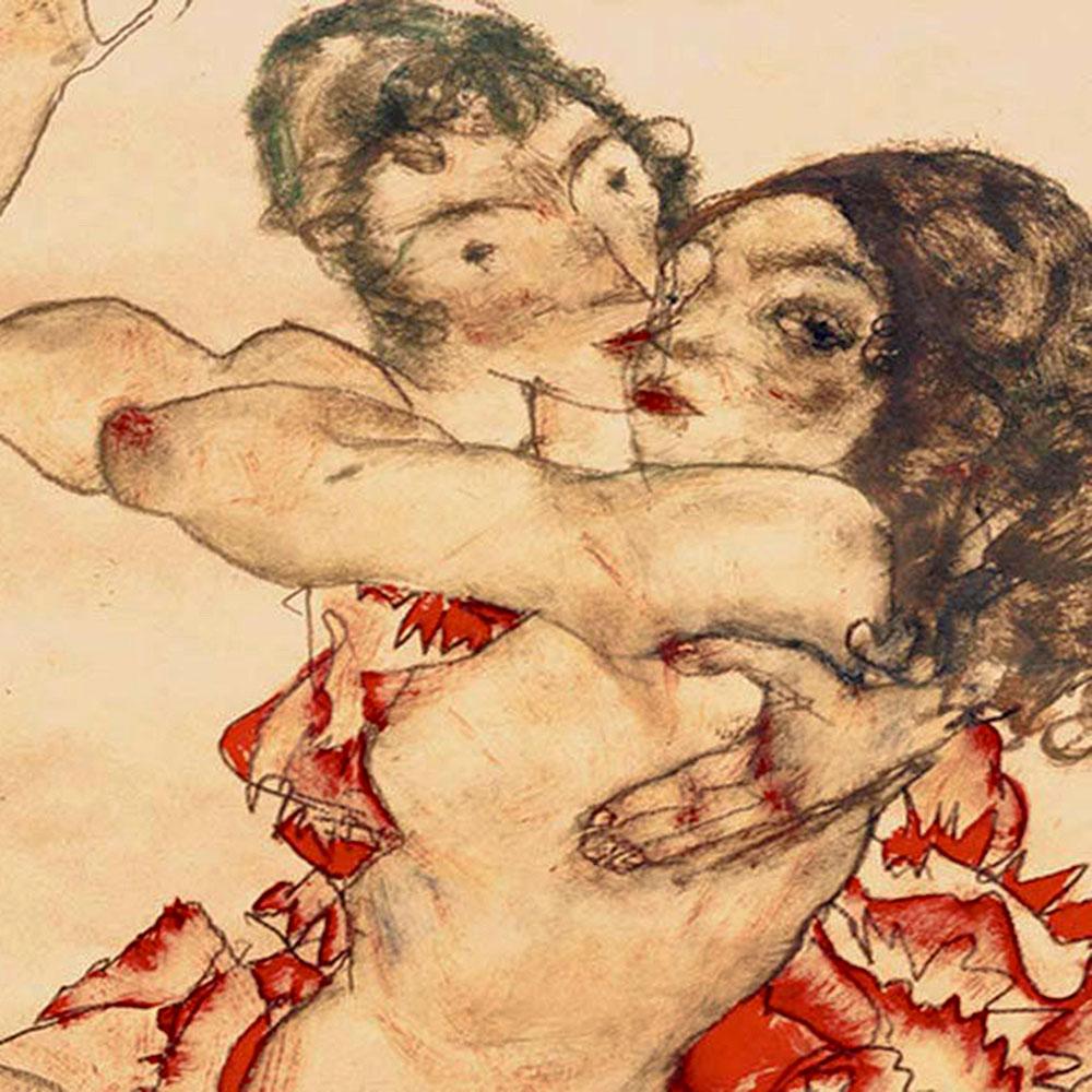 Egon Schiele, L'abbraccio di due ragazze, 1915