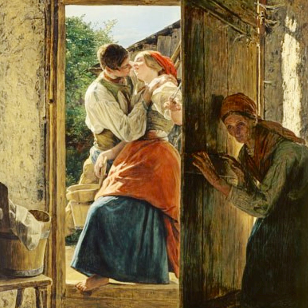 Ferdinand Georg Waldmüller, il bacio spiato, 1890