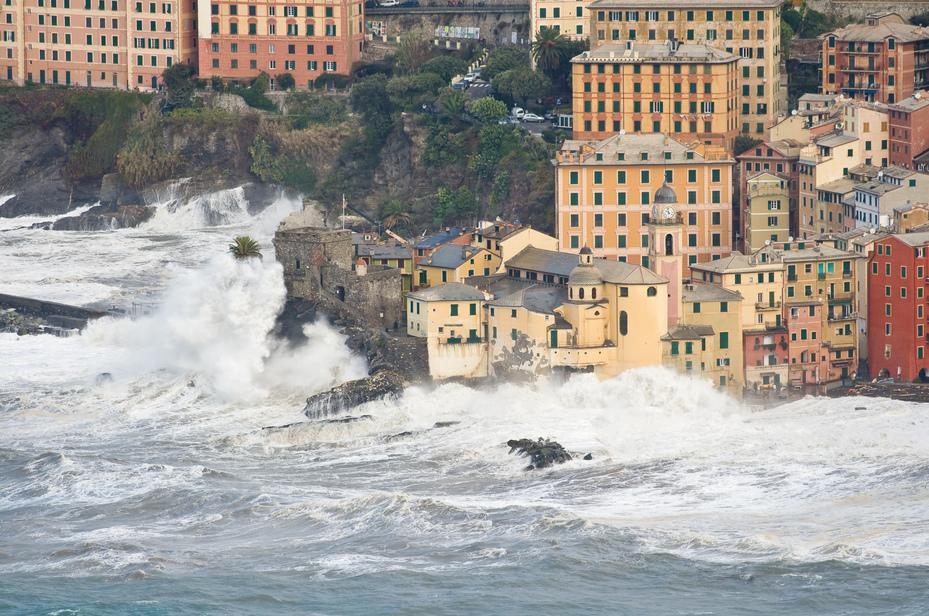 Sea storm in Camogli, Italy