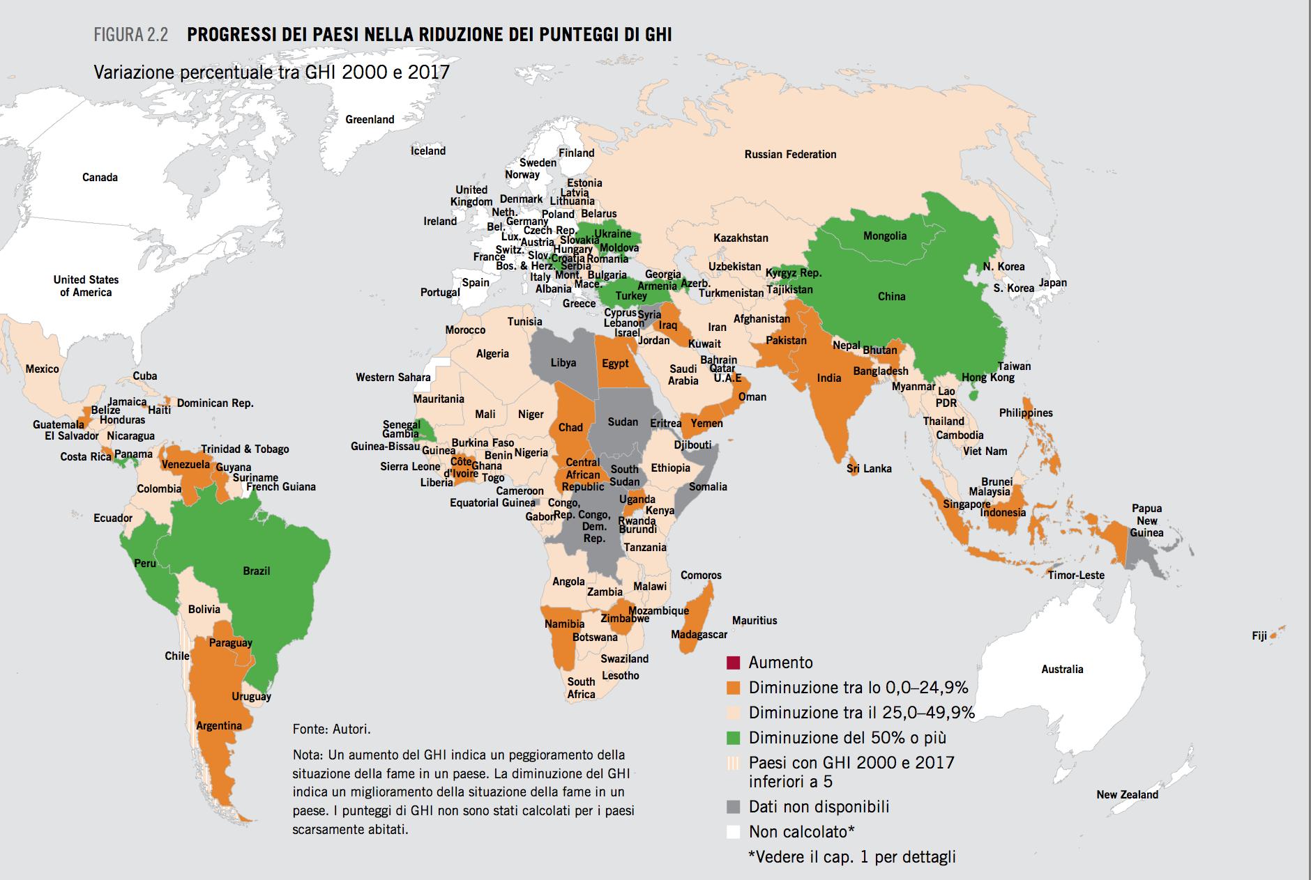 Indice globale della fame 2017 cartina del mondo lifegate - Mappa del mondo contorno ks2 ...