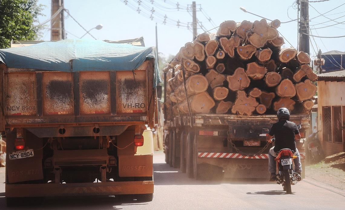 Camion che trasporta legname prelevato dalla foresta amazzonica