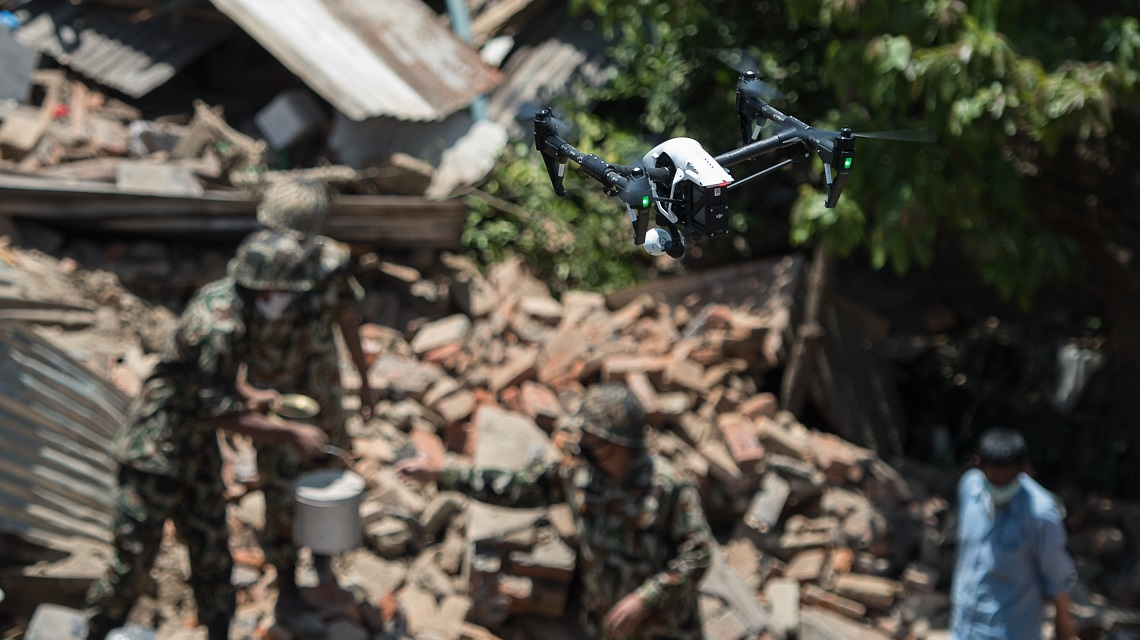 drones fly over recovery efforts sankhu nepal earthquake