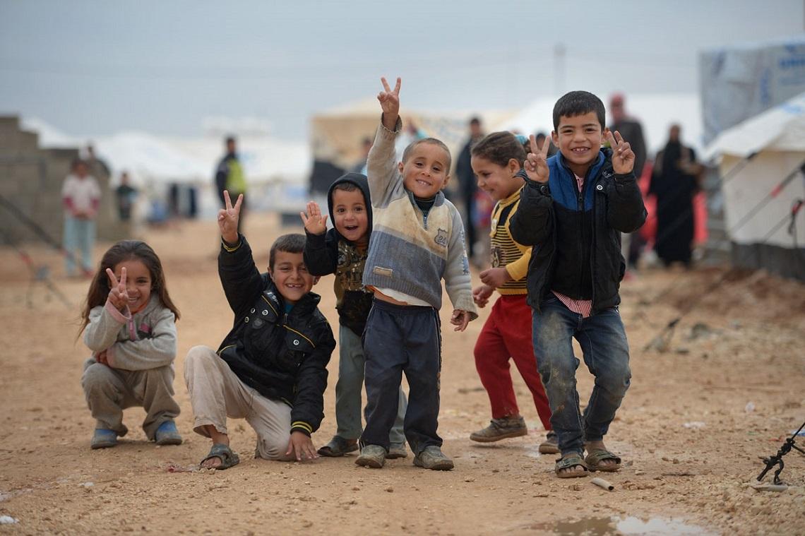 Bambini siriani in un campo profughi in Giordania