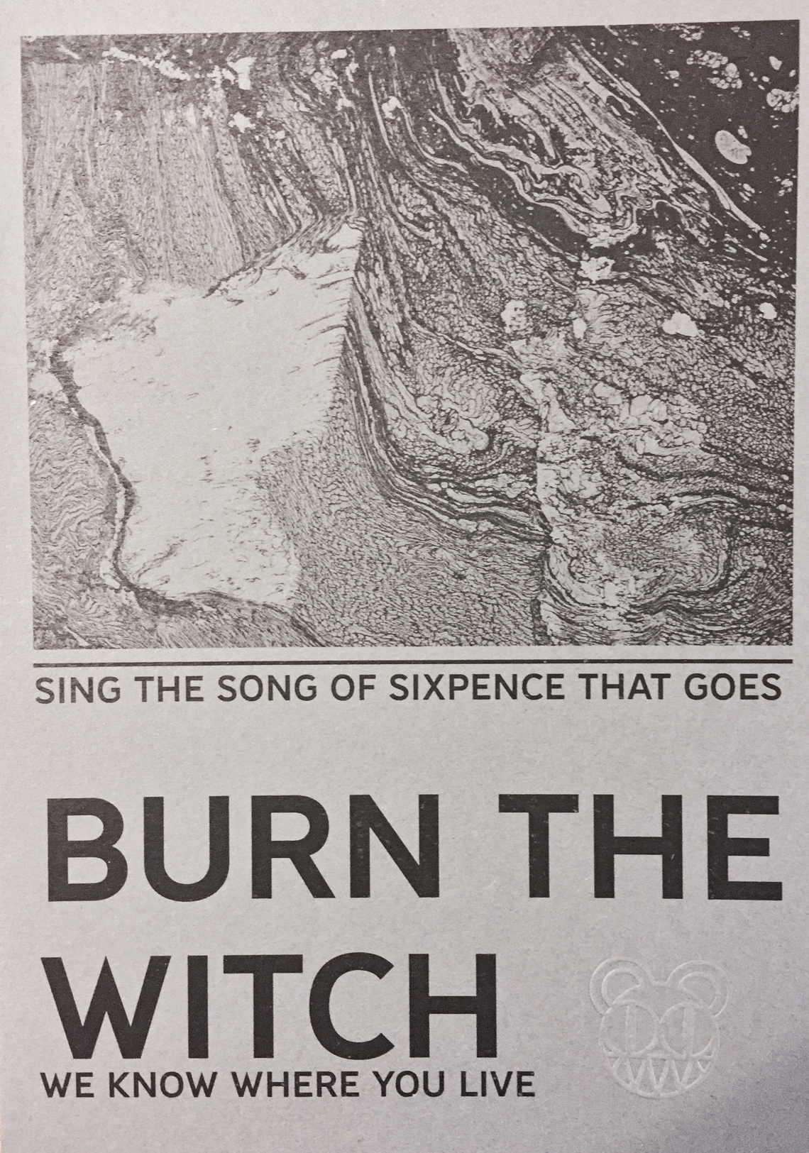 Il flyer Burn the Witch spedito dai Radiohead ad alcuni fan in Inghilterra