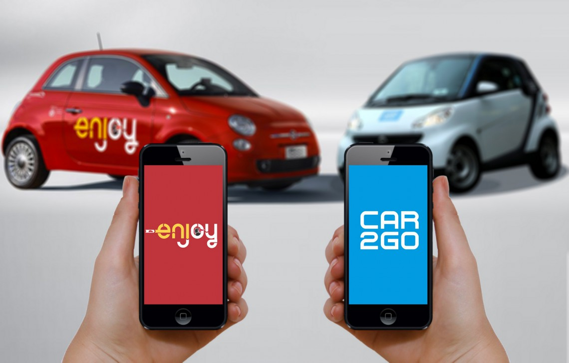 500 vs. smart, Enjoy vs, car2go. Ecco i due principali gestori di servizi per il car sharing in Italia