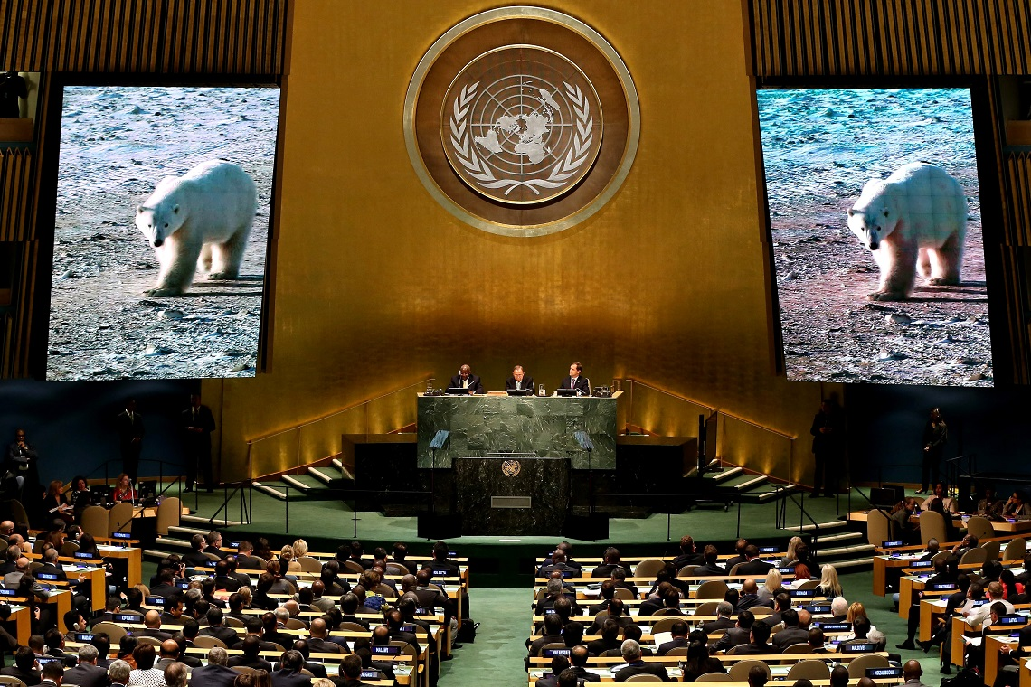 epa04413187 World leaders watch a video about climate change during the Climate Summit 2014 at United Nations headquarters in New York, New York, USA, 23 September 2014. The Climate Summit, which was called by United Nations Secretary-General Ban Ki-moon to attempt to push global action on climate issues, is being held the day before the opening of the General Debate of the United Nations General Assembly.  EPA/JUSTIN LANE