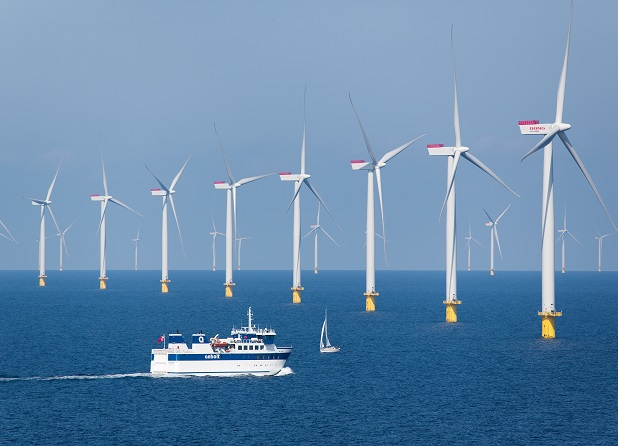 Offshore-Windkraftwerk Anholt im Kattegat / Anholt offshore wind power plant in the Kattegat