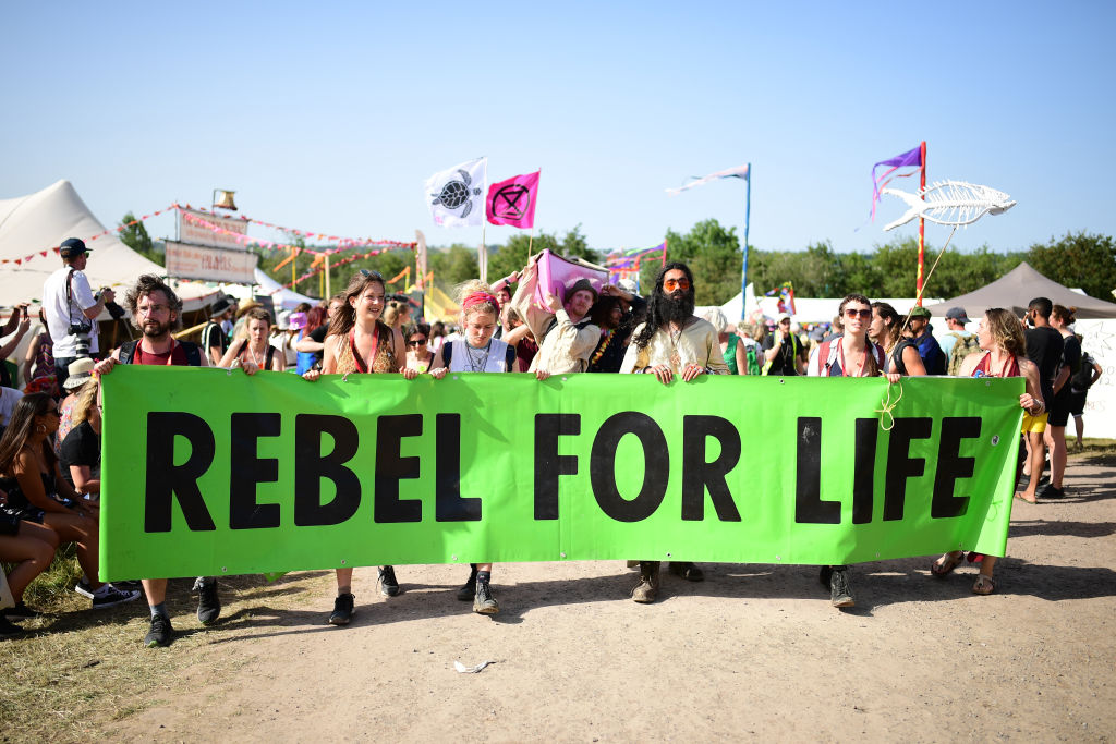 sit-in extinction rebellion glastonbury festival