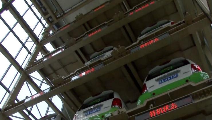 In cina c 39 un distributore automatico di auto elettriche for Costo per costruire garage per 2 auto in allegato