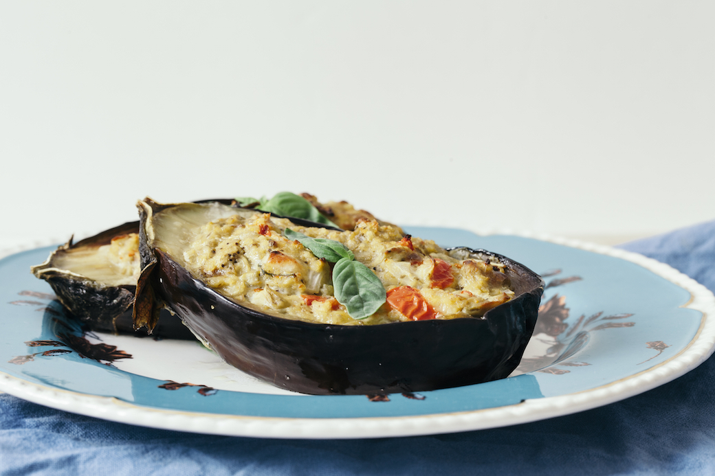 aubergines stuffed with millet