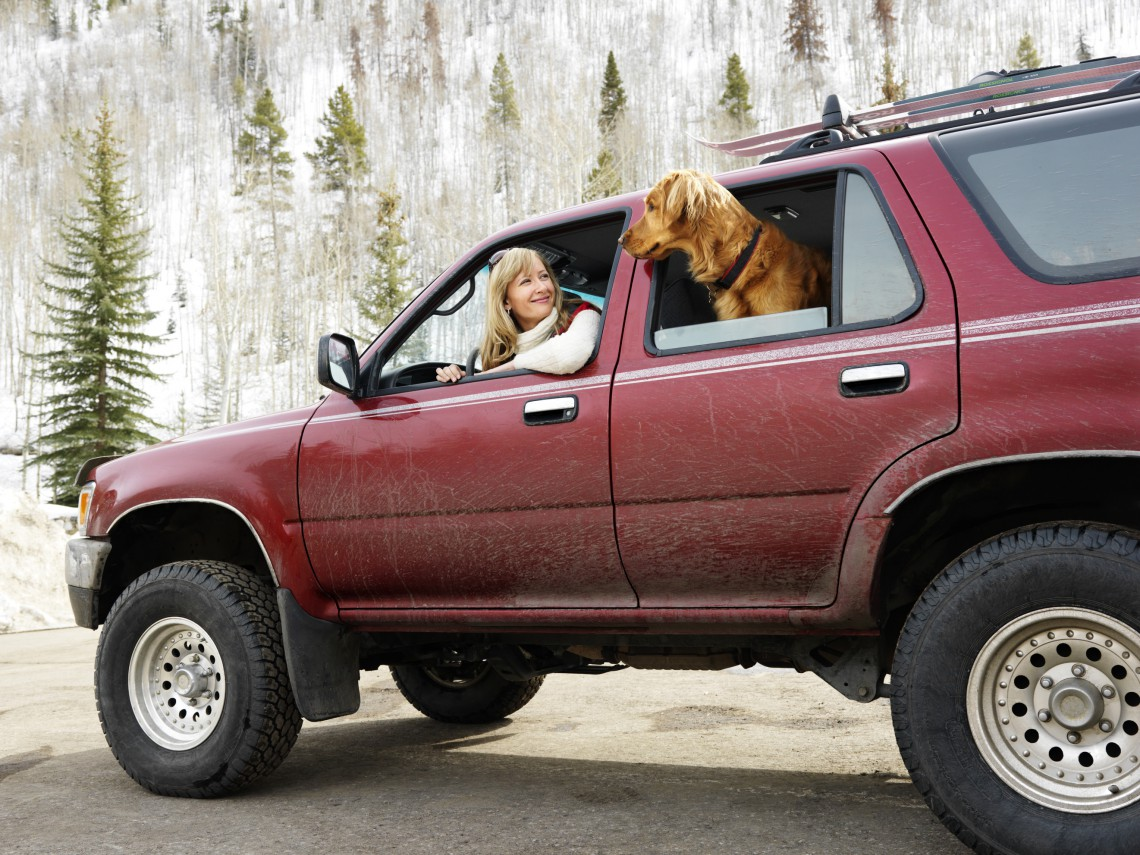 Woman and dog in dirt splattered SUV looking out windows at eachother in snowy countryside.